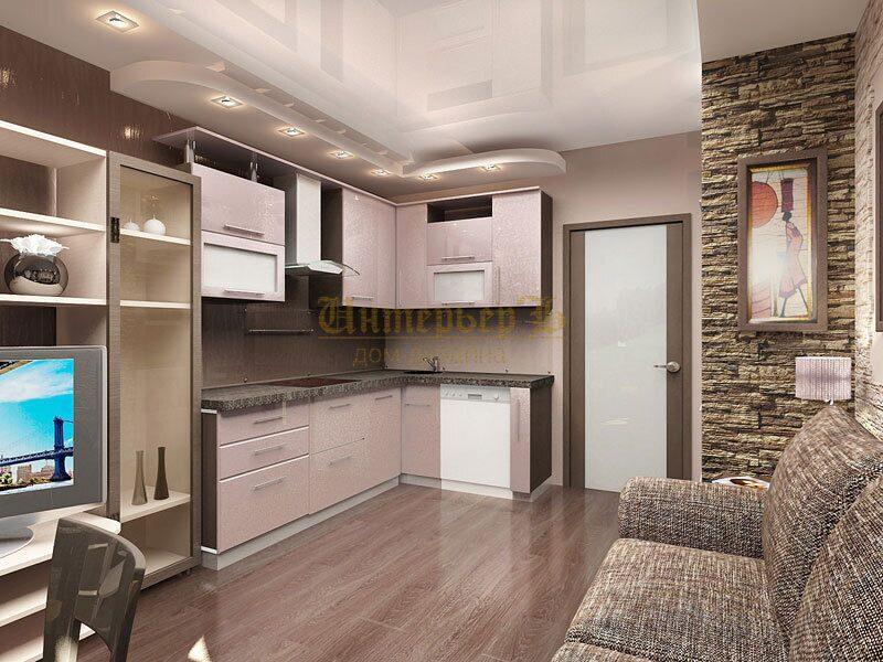 Дизайн соединенной кухни с гостиной